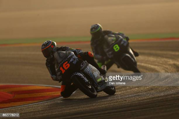 Andrea Migno of Italy and SKY Racing Team VR46 and Nicolo Bulega of Italy and SKY Racing Team VR46 ride in the fog during Moto3 warmup before the...
