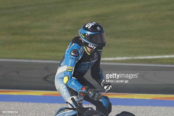 Andrea Migno of Italy and Sky Racing Team VR46 crashed out during the MotoGP of Valencia Free Practice at Ricardo Tormo Circuit on November 11 2016...