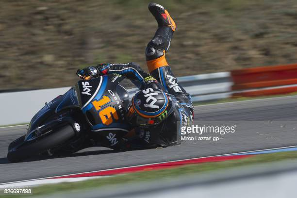 Andrea Migno of Italy and Sky Racing Team VR46 crashed out during the MotoGp of Czech Republic Qualifying at Brno Circuit on August 5 2017 in Brno...