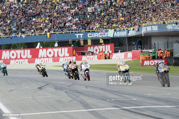 Andrea Migno of Italy and Sky Racing Team VR46 leads the field during the Moto3 Race during the MotoGP Netherlands Race on June 25 2017 in Assen...