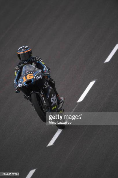 Andrea Migno of Italy and Sky Racing Team VR46 lifts the front wheel during the MotoGp of Germany Free Practice at Sachsenring Circuit on June 30...