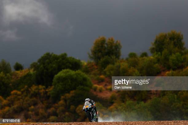 Andrea Migno of Italy and SKY Racing Team VR46 rides during free practice for Moto3 at Circuito de Jerez on May 5 2017 in Jerez de la Frontera Spain