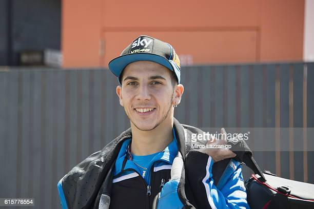 Andrea Migno of Italy and Sky Racing Team VR46 smiles in paddock during previews ahead of the 2016 MotoGP of Australia at Phillip Island Grand Prix...
