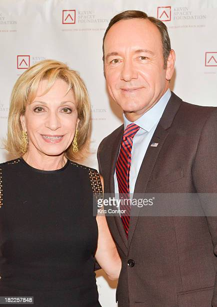 Andrea Mitchell and Kevin Spacey pose on the red carpet during the Kevin Spacey Foundation Washington Gala Dinner at Mandarin Oriental Hotel on...