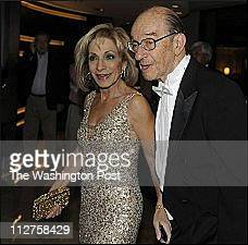 Andrea Mitchell arrives with husband the former Fed Chairman Alan Greenspan for the Gridiron Dinner at the Renaissance Hotel in Washington DC on...