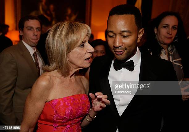 Andrea Mitchell left and musician John Legend attend the Bloomberg Vanity Fair White House Correspondents' Association dinner afterparty in...