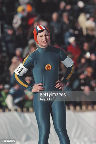 Andrea Mitscherlich of East Germany skates in the Women's 3000 metres speed skating event during the XII Olympic Winter Games on 8 February 1976 at...