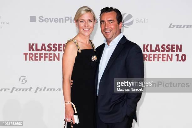 Andrea Muehlbauer and Falk Raudies attend the premiere of the film 'Klassentreffen 10 Die unglaubliche Reise der Silberruecken' at CineStar on...