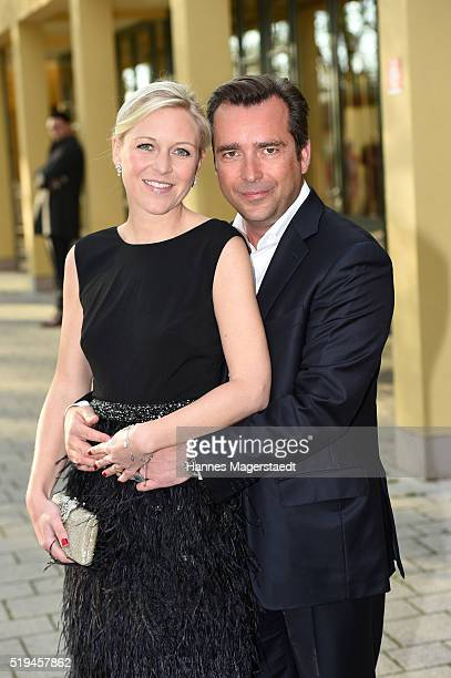 Andrea Muehlbauer and Falk Raudies during the 'EAGLES Fashion Dinner' at Nockherberg on April 6 2016 in Munich Germany