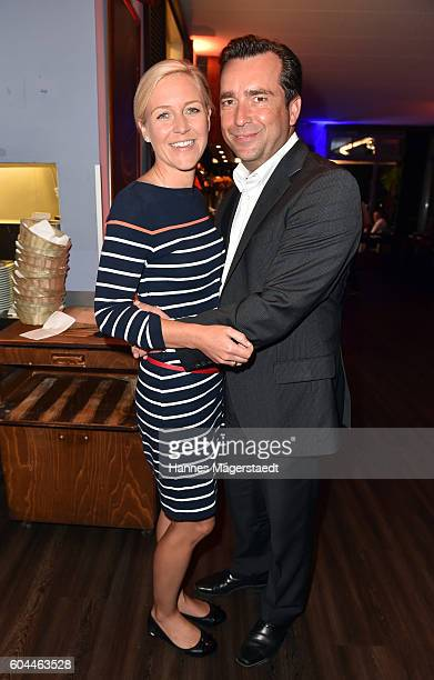 Andrea Muehlbauer and Falk Raudies during the My Big Fat Greek cocktail on September 13 2016 in Munich Germany