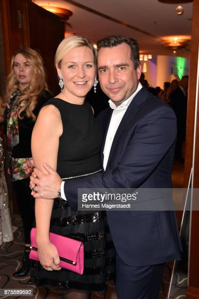 Andrea Muehlbauer and her boyfriend Falk Raudies during the Leon Heart Foundation charity dinner at Charles hotel on November 17 2017 in Munich...