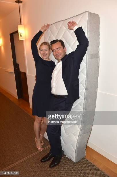 Andrea Muehlbauer and her husband Falk Raudies attend the celebration of the first Weltmatratzenwendetag at Hotel Louis on April 17 2018 in Munich...