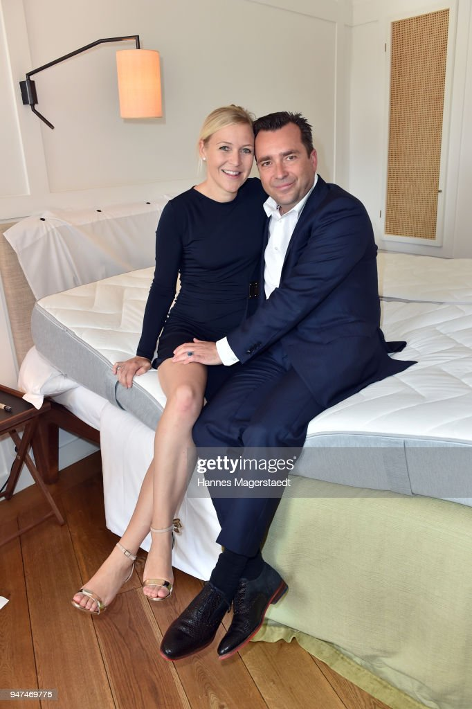 Andrea Muehlbauer and her husband Falk Raudies attend the celebration of the first Weltmatratzenwendetag ( World Mattress Flipping Day ) at Hotel Louis on April 17, 2018 in Munich, Germany.