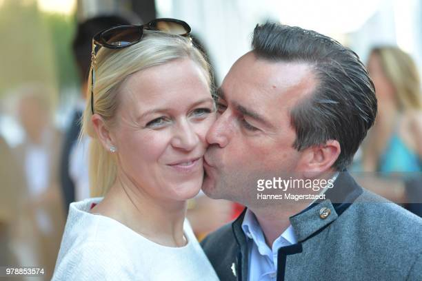 Andrea Muehlbauer and her husband Falk Raudies attend the launch event for watchmaking company NOMOS Glashuette at Juweler Hilscher on June 19 2018...