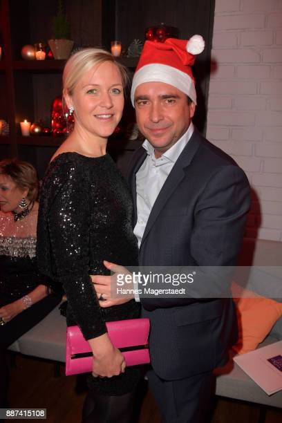 Andrea Muehlbauer and her husband Falk Raudies during the CONNECTIONS PR XMAS Cocktail at Kaefer Atelier on December 6 2017 in Munich Germany