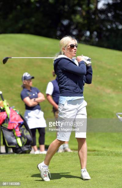 Andrea Muehlbauer during the 7 M M EAGLES Charity LEDERHOS'N Golf Cup 2018 at Golfclub Castle EGMATING on June 22 2018 in Munich Germany In Occasion...