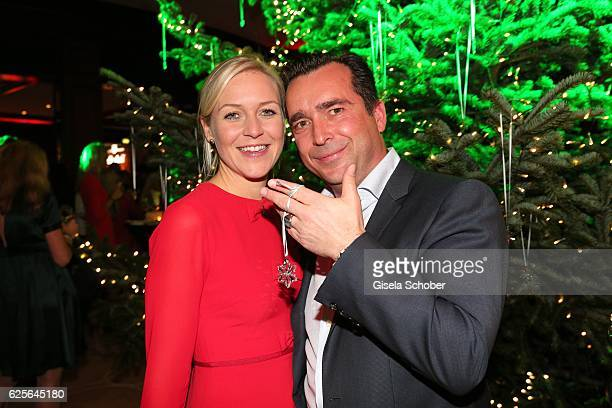 Andrea Muehlbauer former Arland and her boyfriend Falk Raudies during the christmas party at Hotel Vier Jahreszeiten Kempinski on November 24 2016 in...