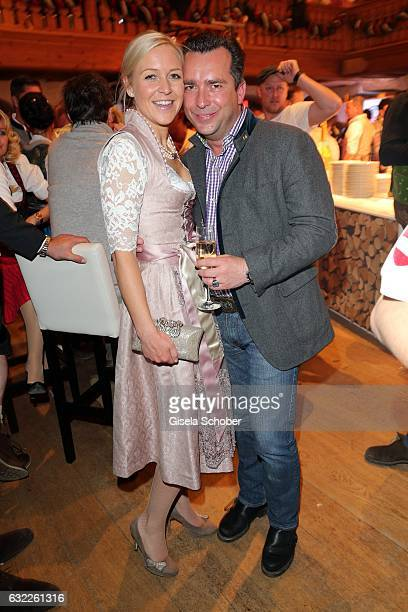 Andrea Muehlbauer former Arland and her boyfriend Falk Raudies during the Weisswurstparty at Hotel Stanglwirt on January 20 2017 in Going near...