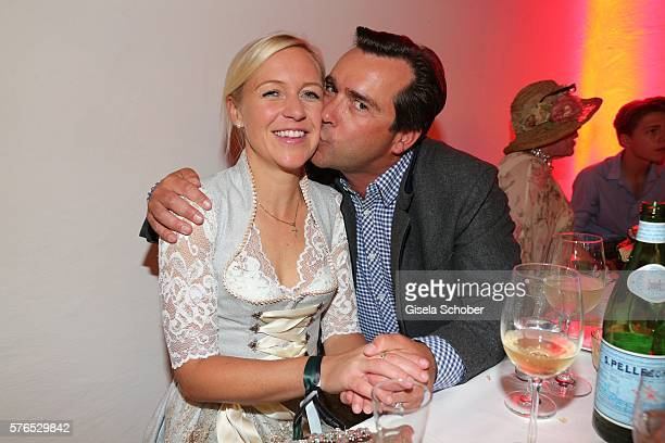 Andrea Muehlbauer formerly Arland and her boyfriend Falk Raudies during a bavarian evening ahead of the Kaiser Cup 2016 on July 15 2016 in Bad...