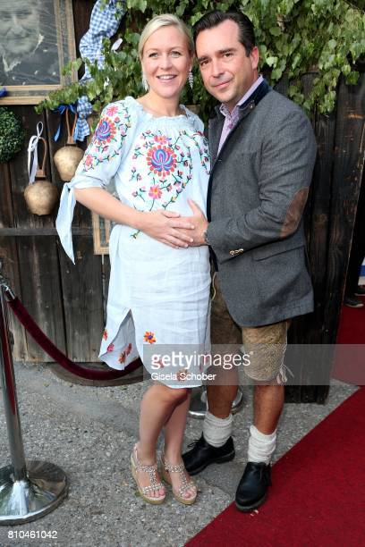 Andrea Muehlbauer pregnant and her boyfriend Falk Raudies during a bavarian evening ahead of the Kaiser Cup 2017 at the Quellness Golf Resort on July...