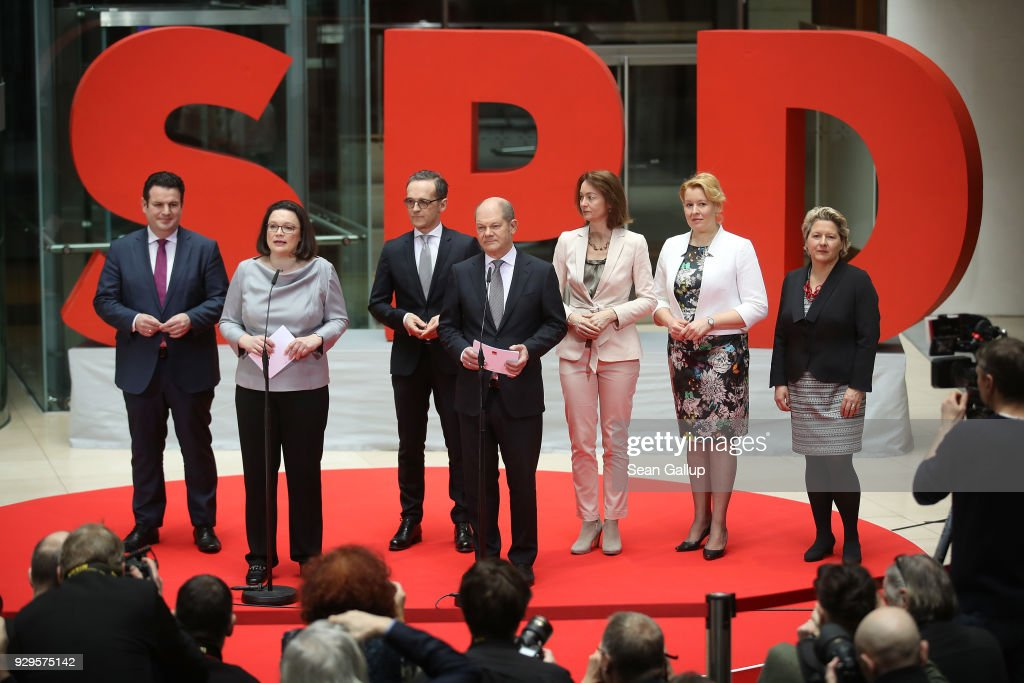 Andrea Nahles (2nd from L) and Olaf Scholz (4th from L) of the German Social Democrats (SPD) present their members of the next German government cabinet: (from L to R) Hubertus Heil, who is to become Minister of Work and Social Issues, Heiko Maas, currently Justice Minister and who is to become Foreign Minister, Olaf Scholz, who is to become Finance Minister and Vice Chancellor, Katarina Barley, who is to become Justice Minister, Franziska Giffey, who is to become Family Minister, and Svenja Schulze, who is to become Environment Minister, at SPD headquarters on March 9, 2018 in Berlin, Germany. The SPD and the German Christian Democrats (CDU/CSU) have agreed to form a government coalition that will face confirmation in the Bundestag and by German President Frank-Walter Steinmeier on March 14.