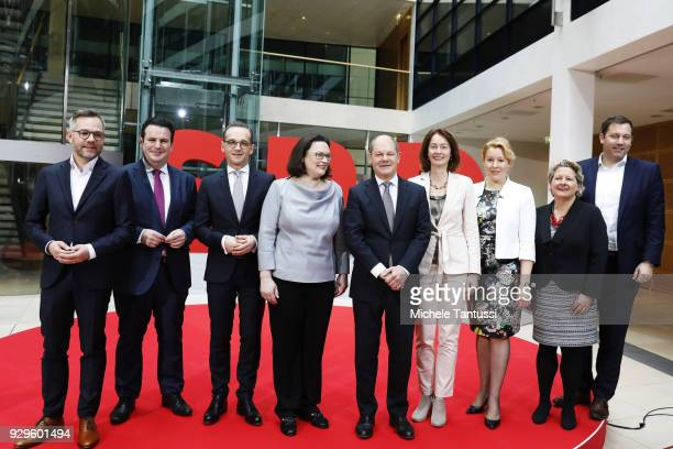 Andrea Nahles and Olaf Scholz pose with SPD The candidates of the SPD for the Cabinet from Michael Roth Hubertus Heil Heiko Maas Katarina Barley...