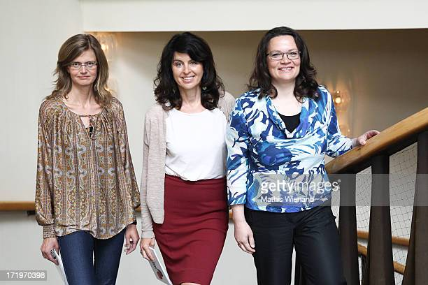 Andrea Nahles Brigitte Huber and Meike Dinklage attend 'Brigitte Live Frauen waehlen' forum at Guerzenich on June 30 2013 in Cologne Germany
