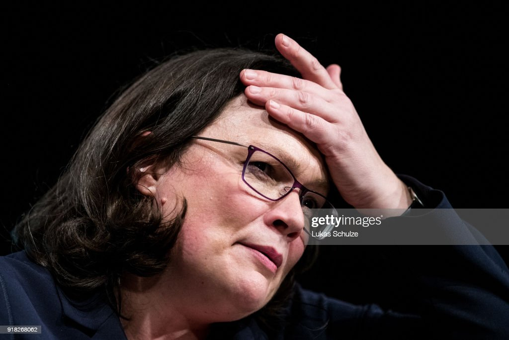 Andrea Nahles, Bundestag faction leader of the German Social Democrats (SPD), speaks during the local political Ash Wednesday SPD gathering on February 14, 2018 in Schwerte, Germany. Nahles is hoping to become party leader at a federal SPD congress on April 22 following yesterday's resignation of SPD leader Martin Schulz. The SPD is struggling through a disastrous last 12 months that have seen the party stymied by leadership mishaps and plummeting support in polls. The SPD leadership has committed itself to joining a government coalition with the German Christian Democrats (CDU/CSU), a move unpopular with a large swathe of its membership.