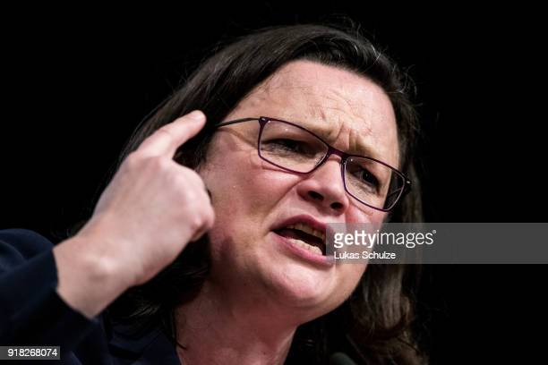 Andrea Nahles Bundestag faction leader of the German Social Democrats speaks during the local political Ash Wednesday SPD gathering on February 14...