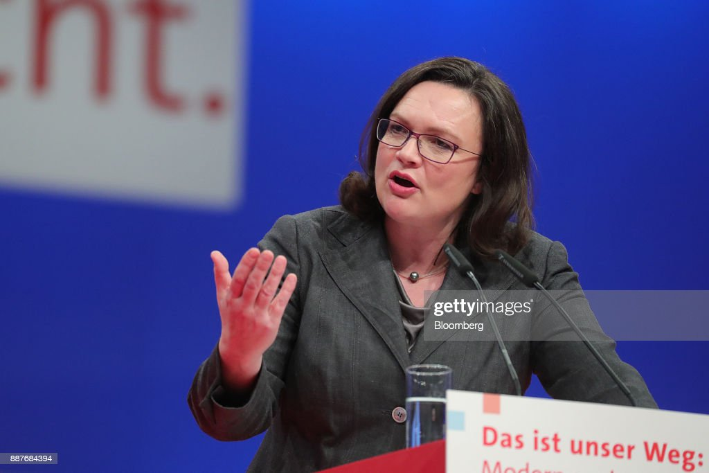 Andrea Nahles, caucus leader of the Social Democrat Party (SPD), gestures while speaking during the SPD's federal party convention in Berlin, Germany, on Thursday, Dec. 7, 2017. Germanys Social Democrats are testing support for a renewed alliance with Chancellor Angela Merkel with a party convention vote that's a crucial hurdle in her quest for a fourth term. Photographer: Krisztian Bocsi/Bloomberg via Getty Images