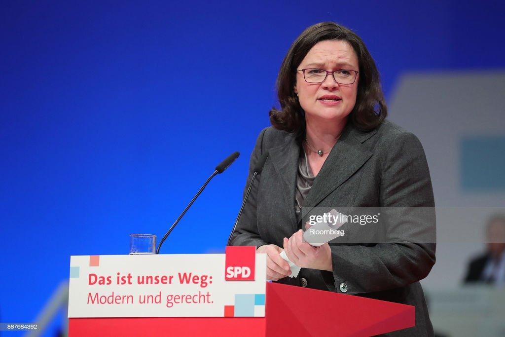 Andrea Nahles, caucus leader of the Social Democrat Party (SPD), speaks during the SPD's federal party convention in Berlin, Germany, on Thursday, Dec. 7, 2017. Germanys Social Democrats are testing support for a renewed alliance with Chancellor Angela Merkel with a party convention vote that's a crucial hurdle in her quest for a fourth term. Photographer: Krisztian Bocsi/Bloomberg via Getty Images