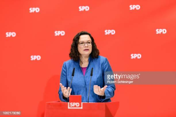 Andrea Nahles Chairwoman of the German Social Democrats speaks to the media as SPD on the day after the SPD suffered a stinging defeat in Bavarian...