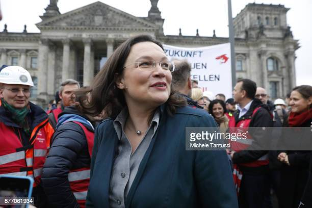 Andrea Nahles chief of the Bundestag social democrats SPD fraction attends a spontaneous protest of Siemens Workers outside the Bundestag on November...