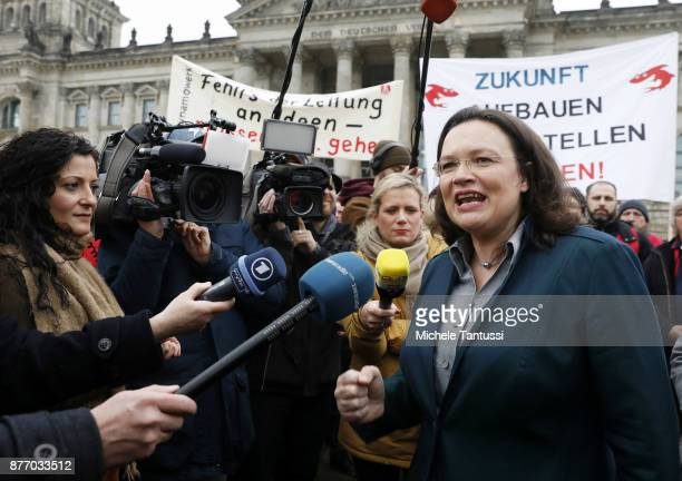 Andrea Nahles chief of the Bundestag social democrats SPD fraction speaks to the media as she attends a spontaneous protest of Siemens Workers...