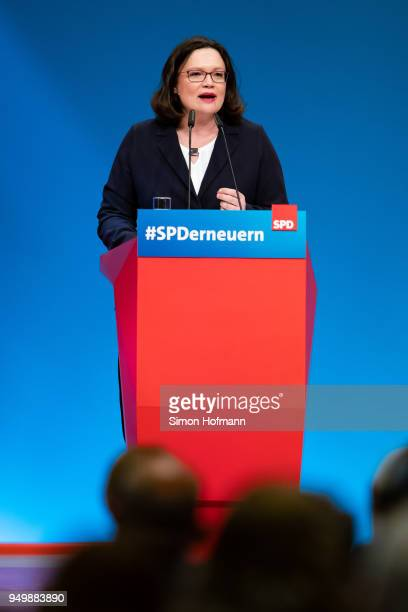Andrea Nahles currently Bundestag faction leader of the German Social Democrats speaks at an SPD federal party congress on April 22 2018 in Wiesbaden...