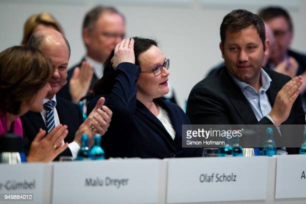 Andrea Nahles currently Bundestag faction leader of the German Social Democrats reacts after speaking at an SPD federal party congress on April 22...