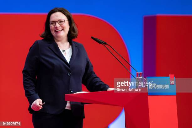 Andrea Nahles currently Bundestag faction leader of the German Social Democrats smiles as she speaks at an SPD federal party congress on April 22...