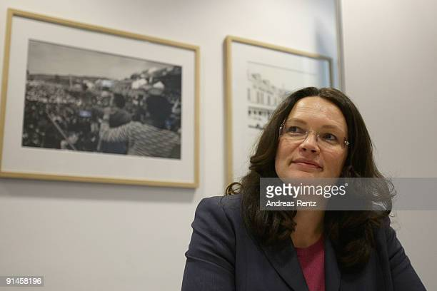 Andrea Nahles Deputy Chairwoman of the German Social Democrats arrives for a executive committee meeting at SPD headquarters at WillyBrandtHaus on...