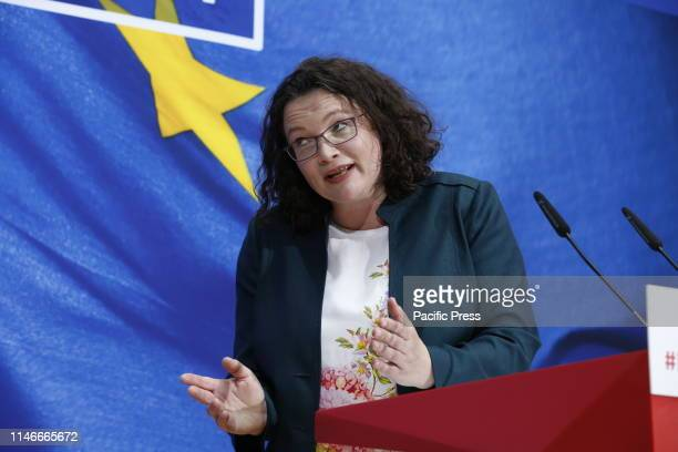 Andrea Nahles during European state and municipal election evening of the SPD in the WillyBrandtHaus For the first time the SPD is in a national...