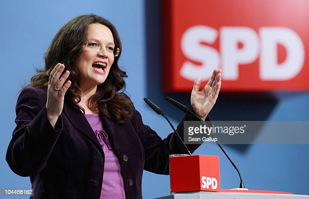 Andrea Nahles General Secretary of the German Social Democrats speaks at the party's extraordinary party convention on September 26 2010 in Berlin...
