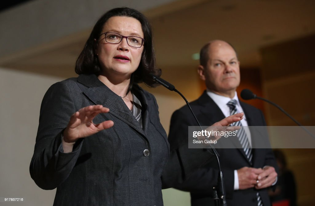Andrea Nahles, head of the Bundestag faction of the German Social Democrats (SPD), and SPD leading member Olaf Scholz speak to the media following the resignation of party leader Martin Schulz at SPD headquarters on February 13, 2018 in Berlin, Germany. Scholz will take over as interim head of the party until Aprill 22, when the SPD will hold a party congress to possibly elect Nahles as new party leader. The party is currently in crisis, with its popularity plummeting in polls down to under 17% following chaos in its leadership.
