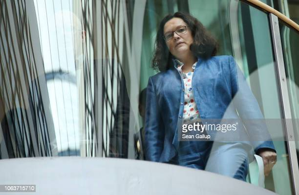 Andrea Nahles head of the German Social Democrats arrives to speak to the media following the SPD leadership's twoday retreat on November 05 2018 in...