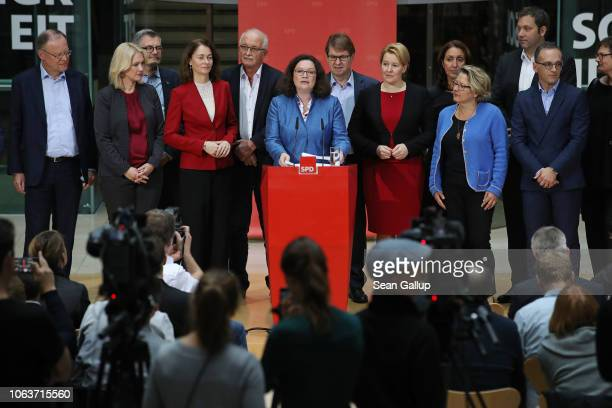 Andrea Nahles head of the German Social Democrats speaks to the media with other leading members of her party following the SPD leadership's twoday...