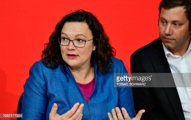 Andrea Nahles leader of Germany's social democratic SPD party and SPD secretary general Lars Klingbeil give a press conference on October 15 2018 at...