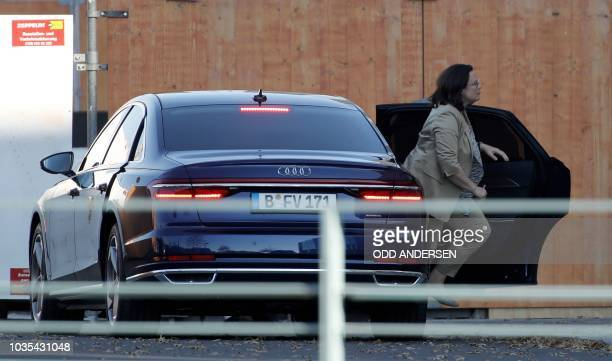 Andrea Nahles leader of Germany's social democratic SPD party arrives at the Chancellery in Berlin for a crisis meeting with the leaders of the...