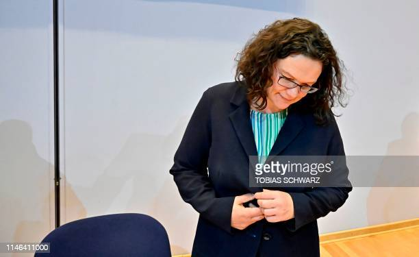Andrea Nahles leader of Germany's social democratic SPD party arrives for her party's leadership meeting in Berlin on May 27 one day after European...