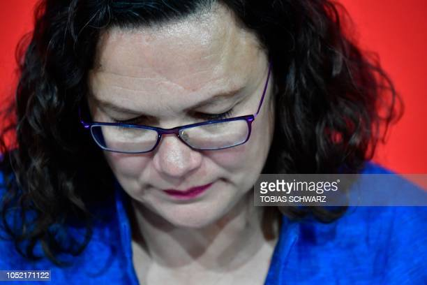 Andrea Nahles leader of Germany's social democratic SPD party gives a press conference on October 15 2018 at the SPD headquarters in Berlin one day...