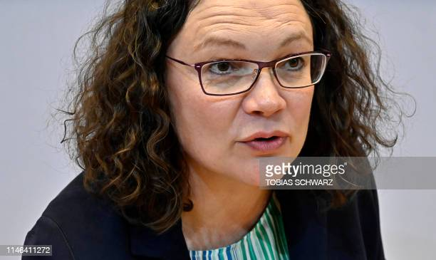 Andrea Nahles leader of Germany's social democratic SPD party has taken seat for her party's leadership meeting in Berlin on May 27 one day after...