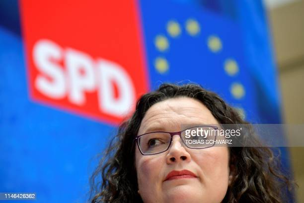 Andrea Nahles leader of Germany's social democratic SPD party looks on during a press conference following her party's leadership meeting in Berlin...