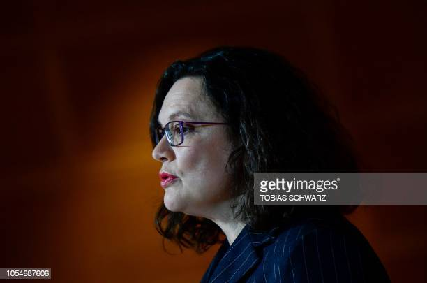 Andrea Nahles leader of Germany's social democratic SPD party reacts as first exit polls were announced on public television during the state...